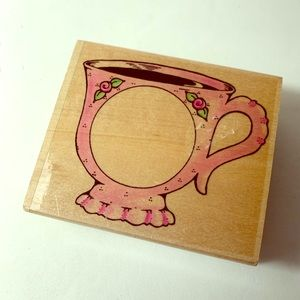 Teacup Frame Rubber Ink Stamp by Embossing Arts
